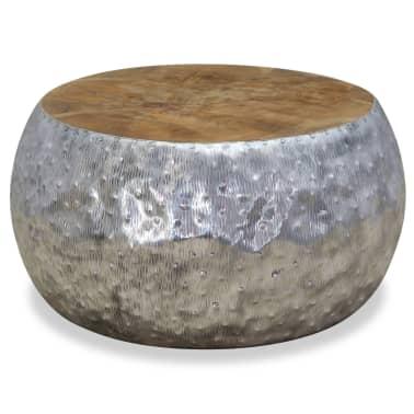 vidaXL Kavos staliukas, aliuminis, tikmedis, 60x60x30cm[5/7]