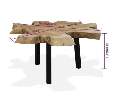 vidaXL Kavos staliukas, tikras tikmedis, 80x70x38cm[10/10]