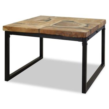 vidaXL Kavos staliukas, tikmedis ir derva, 60x60x40cm[1/11]