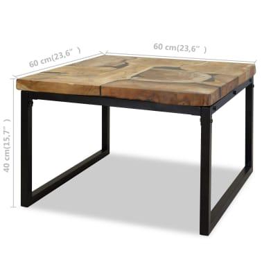 vidaXL Kavos staliukas, tikmedis ir derva, 60x60x40cm[11/11]