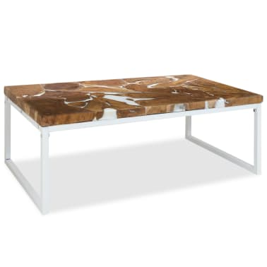 vidaXL Kavos staliukas, tikmedis ir derva, 110x60x40cm[1/10]