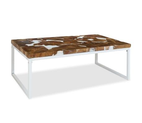 vidaXL Kavos staliukas, tikmedis ir derva, 110x60x40cm[3/10]