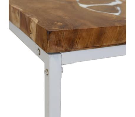 vidaXL Kavos staliukas, tikmedis ir derva, 110x60x40cm[9/10]