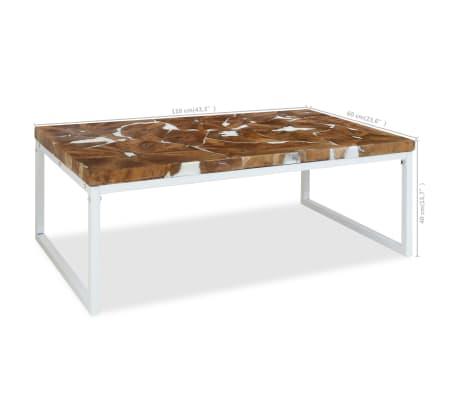 vidaXL Kavos staliukas, tikmedis ir derva, 110x60x40cm[10/10]