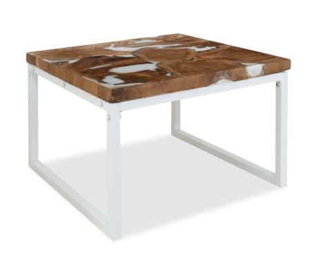 vidaXL Tavolino da Caffè in Legno di Teak e Resina 60x60x40 cm