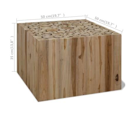 vidaXL Kavos staliukas, tikras tikmedis, 50 x 50 x 35 cm[6/6]