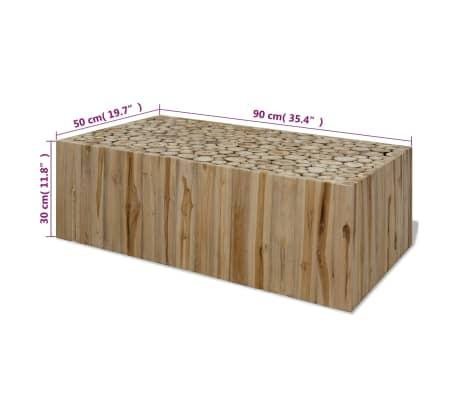 vidaXL Kavos staliukas, tikras tikmedis, 90x50x35 cm[7/7]