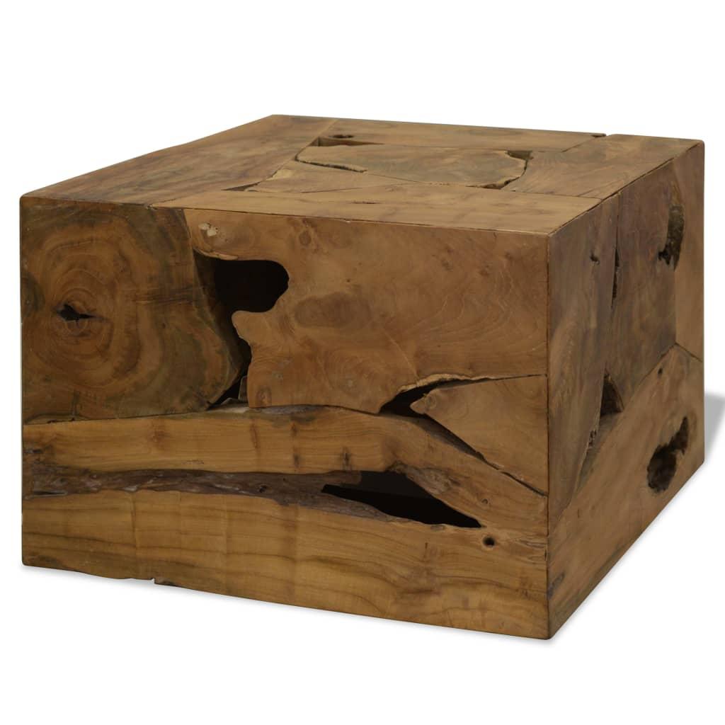 vidaXL Stolik kawowy z drewna tekowego, 50 x 50 x 35 cm, brązowy