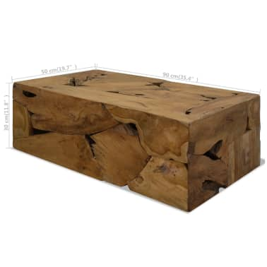 vidaXL Konferenční stolek, pravý teak, 90x50x35 cm, hnědý[7/7]