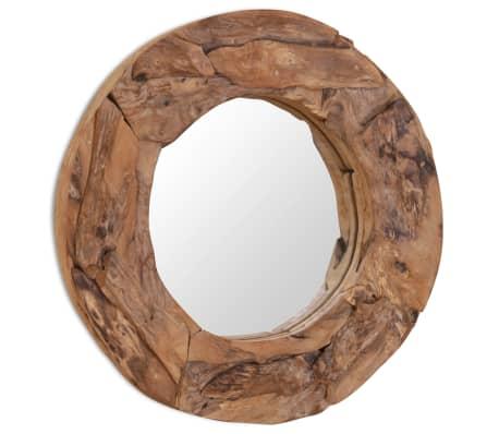 vidaxl dekorativer spiegel teak 60 cm rund g nstig kaufen. Black Bedroom Furniture Sets. Home Design Ideas