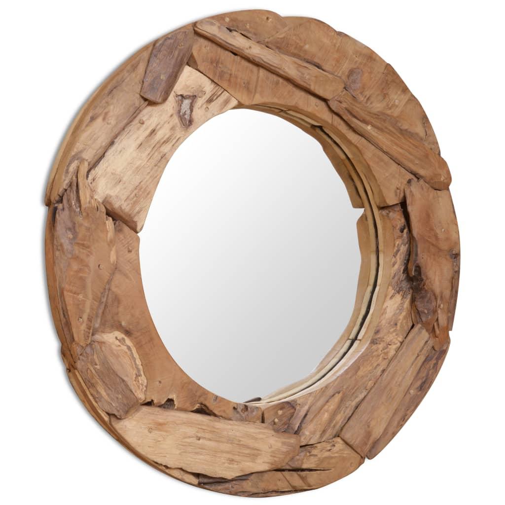 vidaXL Decoratieve spiegel rond 80 cm teakhout