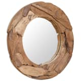 vidaXL dekorativt spejl i teak 80 cm rundt