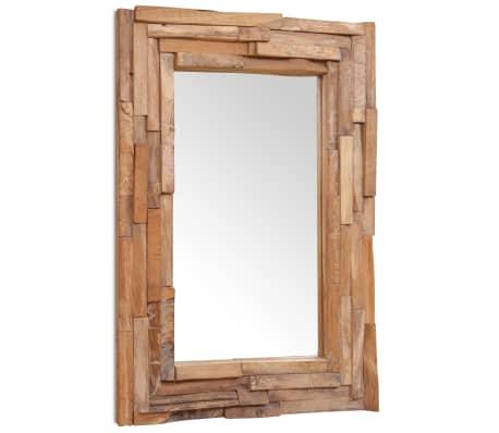 Vidaxl decoratieve spiegel rechthoekig 90x60 cm teakhout for Spiegel 90x60