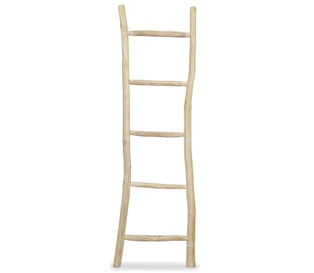 "vidaXL Towel Ladder with 5 Rungs Teak 17.7""x59"" Natural[1/2]"
