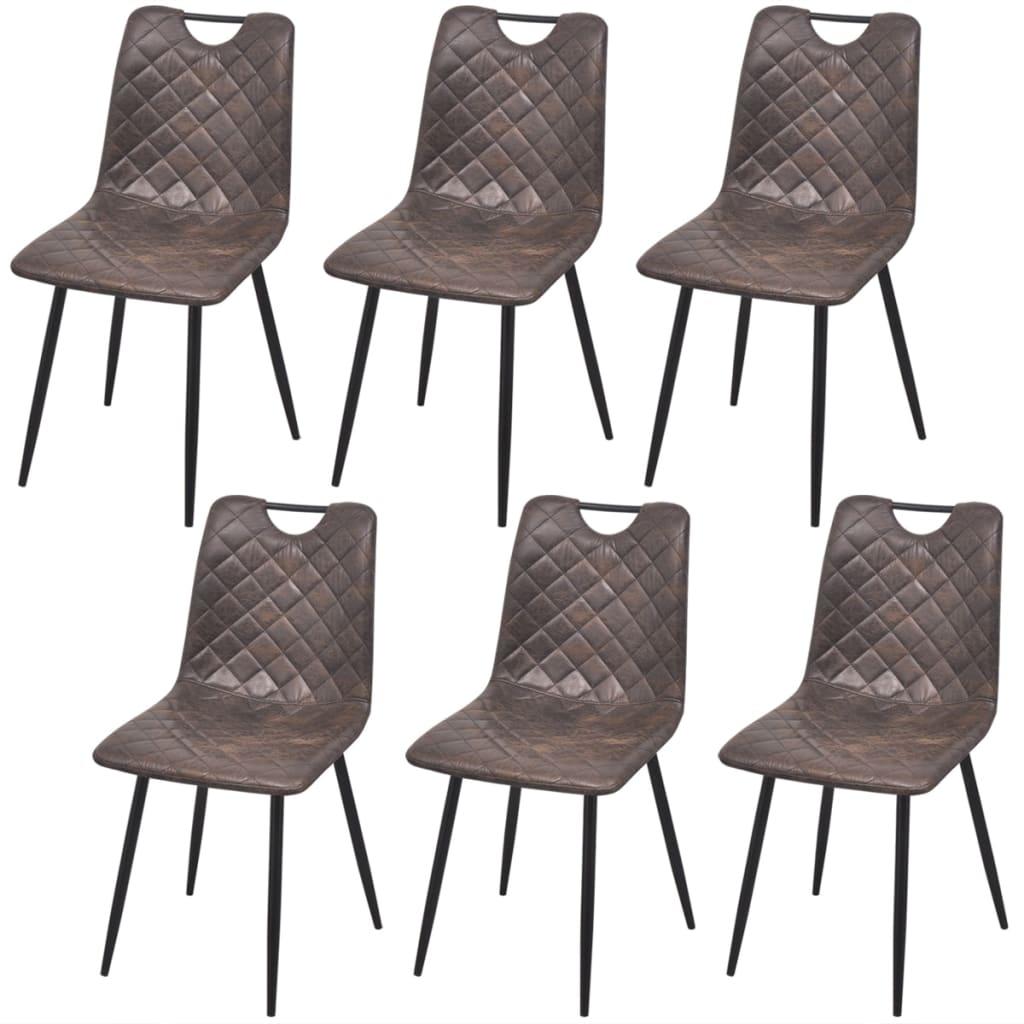 vidaXL Καρέκλες Τραπεζαρίας 6 τεμ. Σκούρο Καφέ από Συνθετικό Δέρμα