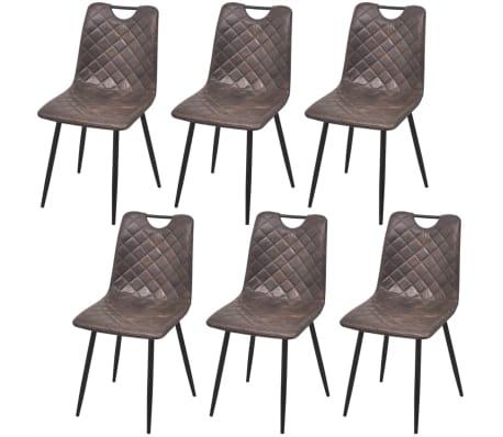 Vidaxl sillas de comedor de cuero artificial 6 unidades for Sillas comedor cuero marron