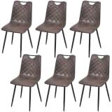vidaXL Valgomojo kėdės, 6vnt., tamsiai rudos, dirbtinė oda