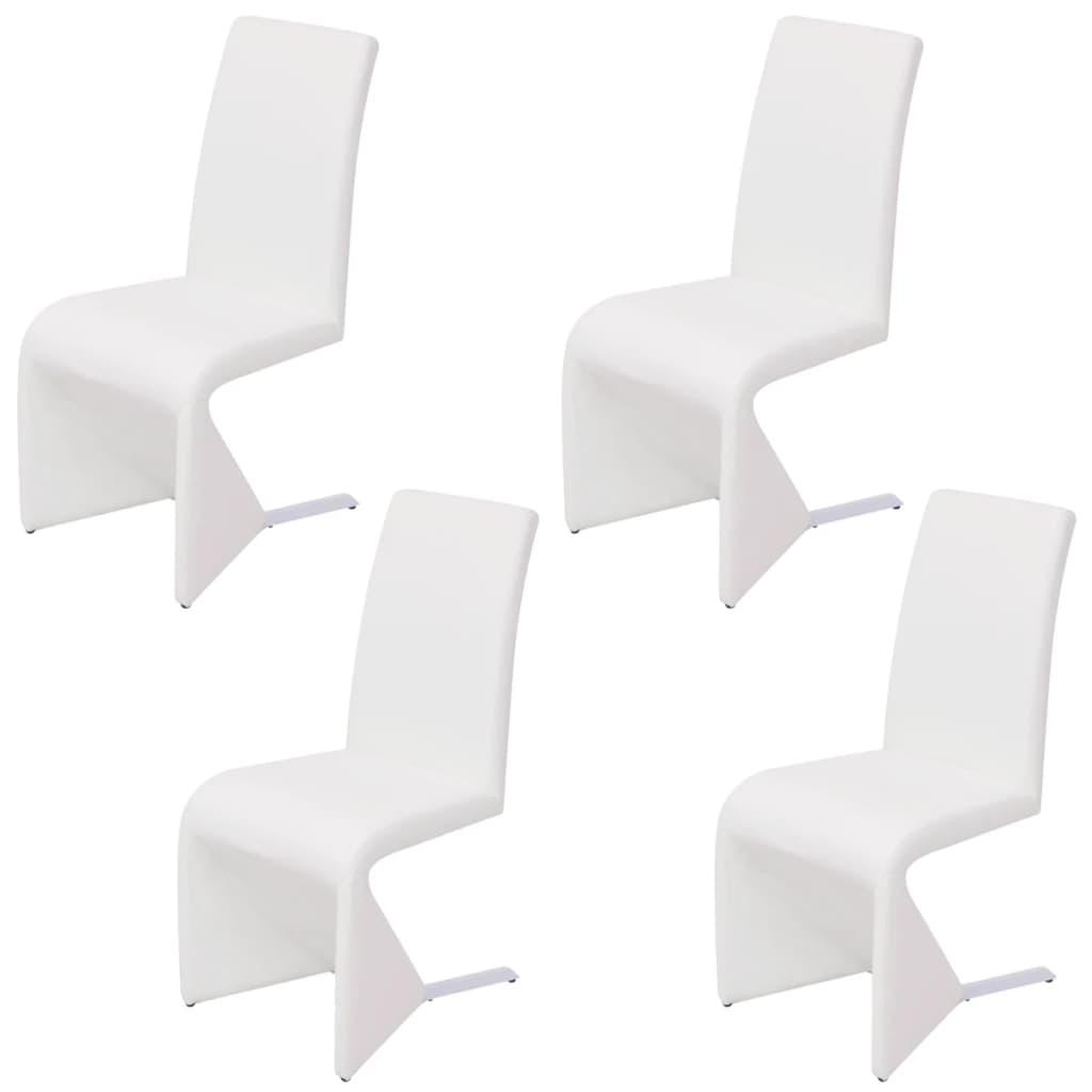 Afbeelding van vidaXL Cantilever eetkamerstoelen 4 stuks kunstleer wit