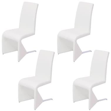 Vidaxl sillas de comedor voladizas cuero artificial blanco for Sillas comedor cuero blanco
