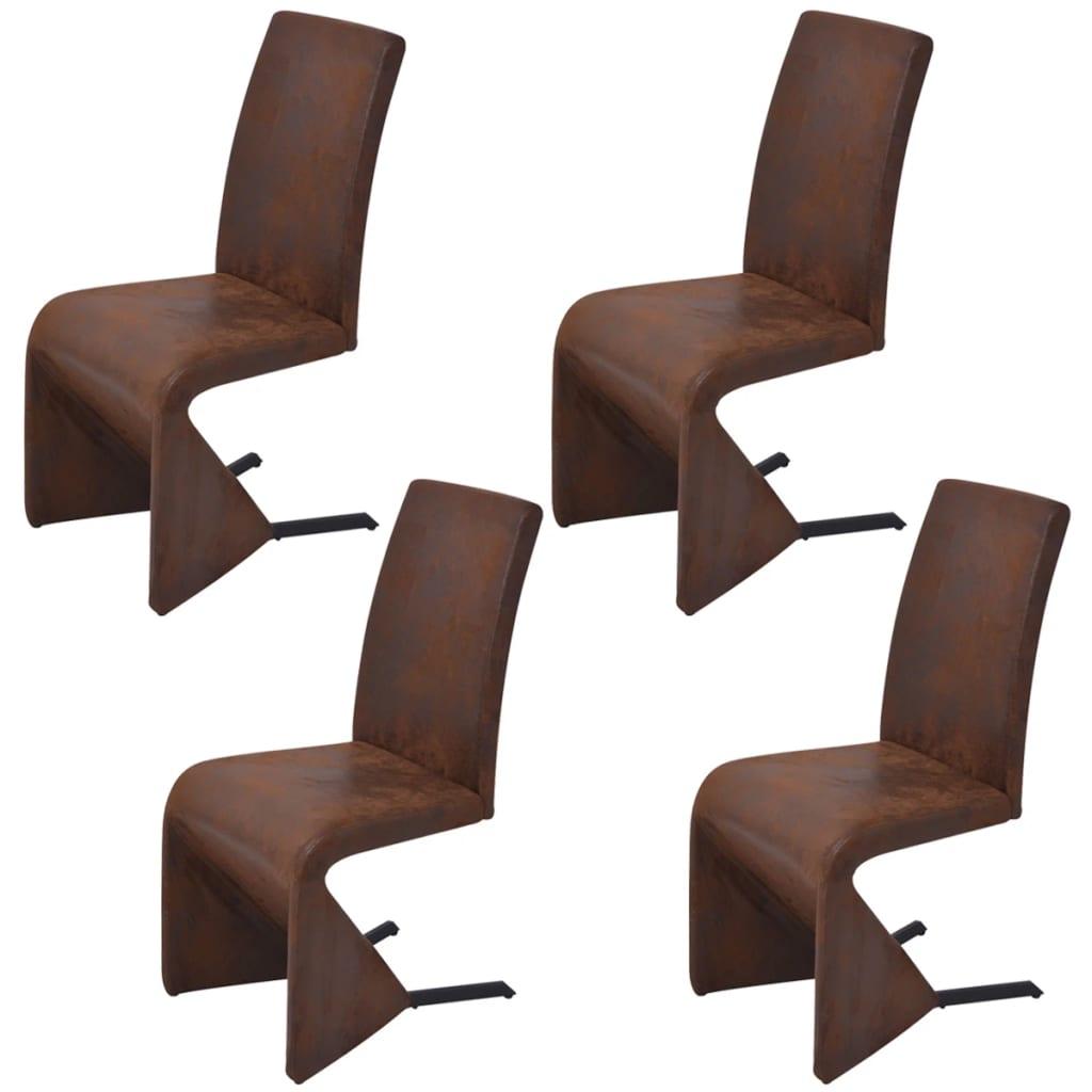Afbeelding van vidaXL Cantilever eetkamerstoelen 4 stuks stof bruin