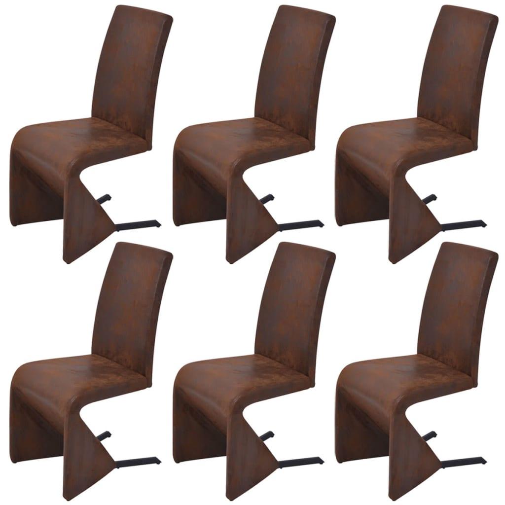 Afbeelding van vidaXL Cantilever eetkamerstoelen 6 stuks stof bruin