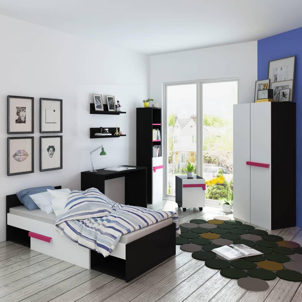 vidaXL Set mobilier dormitor pentru copii cu saltea roz 8 piese vidaxl.ro