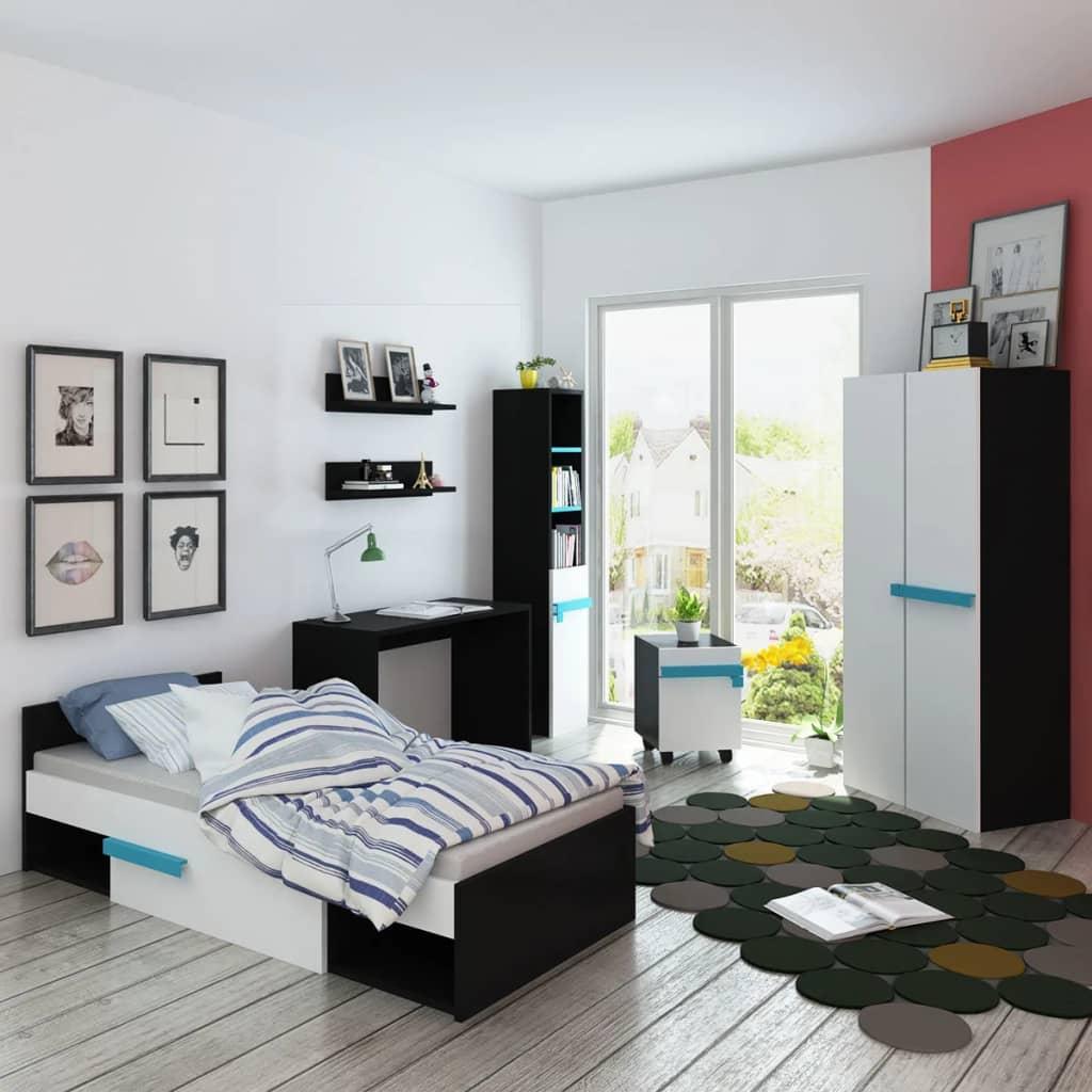 vidaXL Set mobilier dormitor pentru copii cu saltea, opt piese, albastru vidaxl.ro