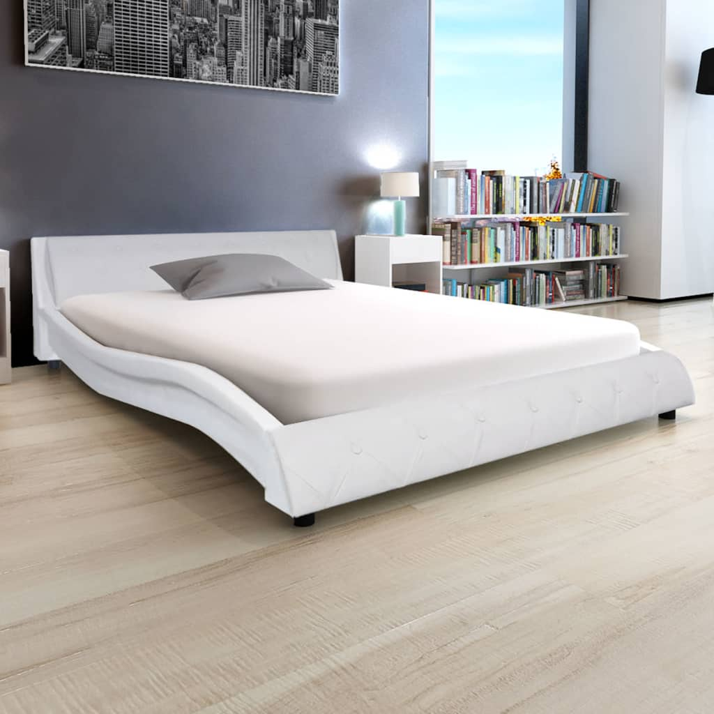 vidaXL Κρεβάτι Λευκό 140 x 200 εκ. Δερματίνη με Στρώμα Αφρού Μνήμης