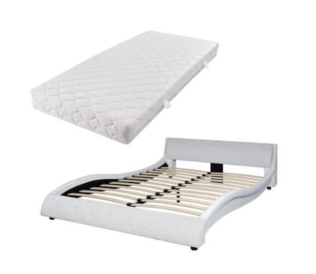 vidaxl bett mit matratze kunstleder 140x200 cm wei. Black Bedroom Furniture Sets. Home Design Ideas