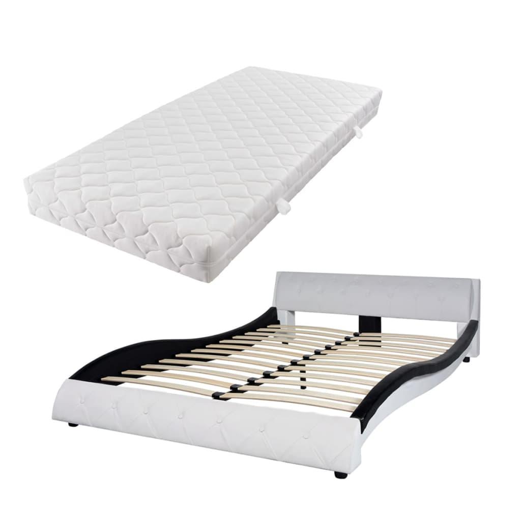 vidaXL Κρεβάτι Ασπρόμαυρο 140 x 200 εκ. από Συνθετικό Δέρμα με Στρώμα