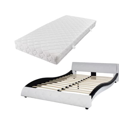 vidaXL Bett mit Matratze Kunstleder 140x200 cm Schwarz und weiß[2/12]