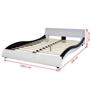 vidaXL Lit avec matelas 140 x 200 cm Cuir synthétique Noir et blanc[12/12]