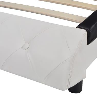 vidaXL Bett mit Matratze Kunstleder 140x200 cm Schwarz und weiß[7/12]