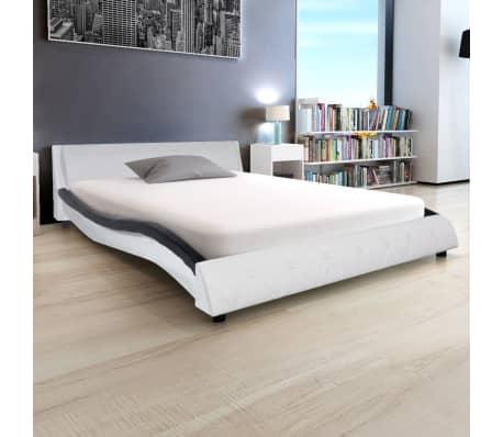 vidaXL Bett mit Matratze Kunstleder 140x200 cm Schwarz und weiß[1/12]