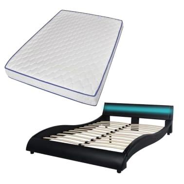 vidaXL Bett mit LED und Memory-Matratze Kunstleder 140x200cm schwarz[2/15]