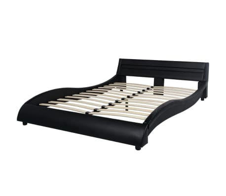 vidaXL Bett mit LED und Memory-Matratze Kunstleder 140x200cm schwarz[4/15]