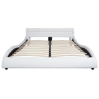 vidaxl bett mit led und memory matratze kunstleder 140x200 cm wei g nstig kaufen. Black Bedroom Furniture Sets. Home Design Ideas