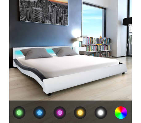 acheter vidaxl lit et matelas mousse m moire 180x200 cm cuir artificiel blanc pas cher. Black Bedroom Furniture Sets. Home Design Ideas