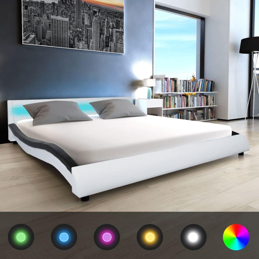 vidaXL Pat cu saltea și LED, negru&alb, 180x200 cm, piele artificială imagine vidaxl.ro