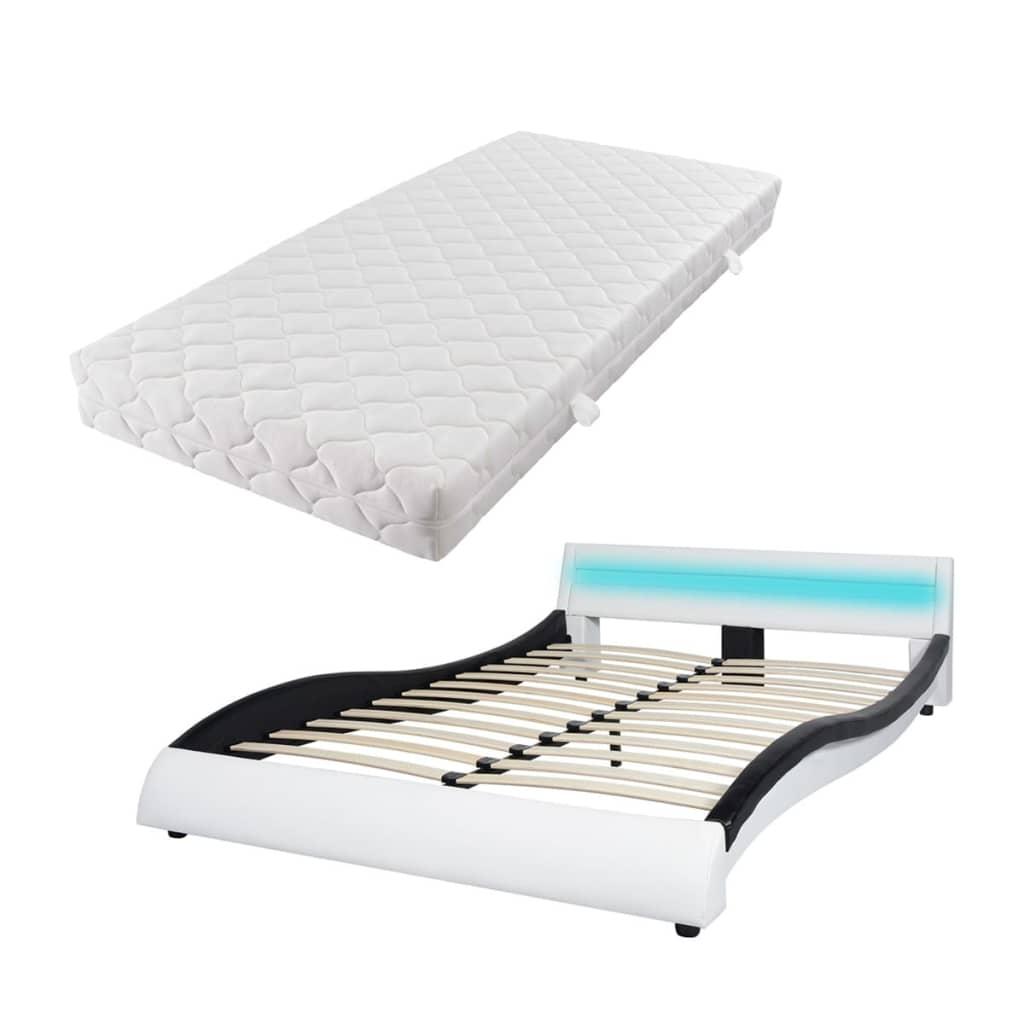 vidaXL Κρεβάτι LED Ασπρόμαυρο 140 x 200 εκ. Συνθετικό Δέρμα με Στρώμα