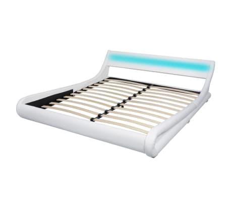 vidaXL Lit avec matelas mousse à mémoire Blanc Similicuir 180x200 cm[3/15]