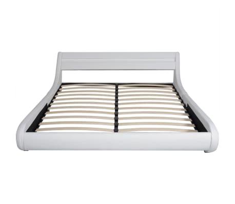 vidaXL Lit avec matelas mousse à mémoire Blanc Similicuir 180x200 cm[4/15]