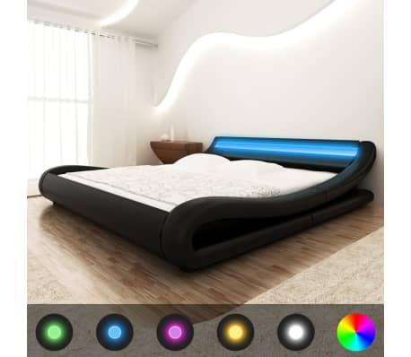 vidaxl bett led streifen matratze kunstleder 140x200 cm curl schwarz g nstig kaufen. Black Bedroom Furniture Sets. Home Design Ideas