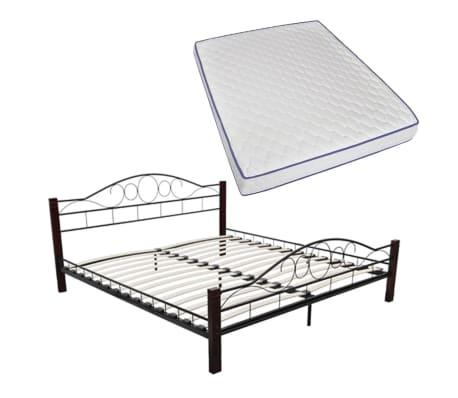 vidaxl doppelbett mit memory matratze metall schwarz 160x200 cm zum schn ppchenpreis. Black Bedroom Furniture Sets. Home Design Ideas