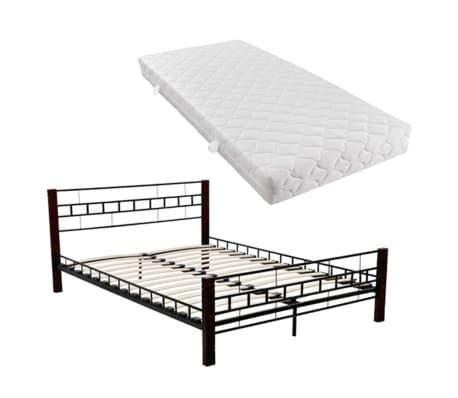 vidaxl doppelbett mit matratze metall schwarz 160x200 cm. Black Bedroom Furniture Sets. Home Design Ideas