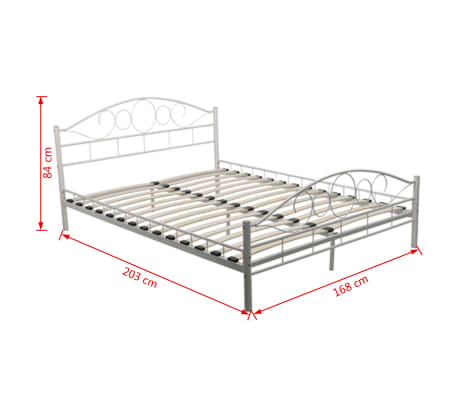 vidaxl doppelbett mit matratze metall wei 160x200 cm. Black Bedroom Furniture Sets. Home Design Ideas