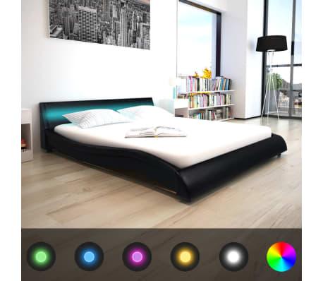 vidaxl bett mit led und memory matratze kunstleder 160x200cm schwarz g nstig kaufen. Black Bedroom Furniture Sets. Home Design Ideas