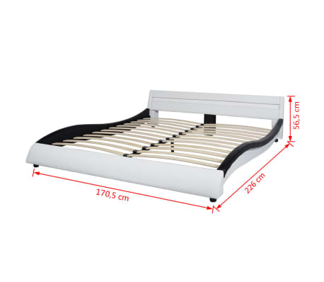 vidaXL Bett + LED + Memory-Matratze Kunstleder 160x200cm schwarz/weiß