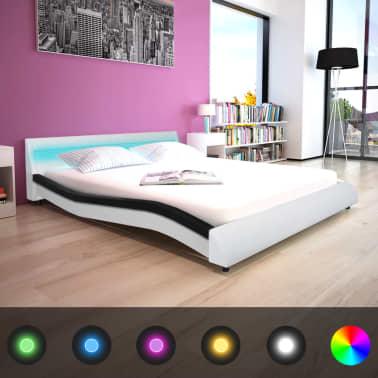 vidaXL Bett + LED + Memory-Matratze Kunstleder 160x200cm ...