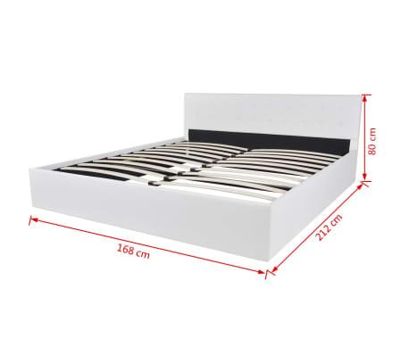 vidaxl bett mit gasfeder memory matratze kunstleder 160x200 cm wei g nstig kaufen. Black Bedroom Furniture Sets. Home Design Ideas